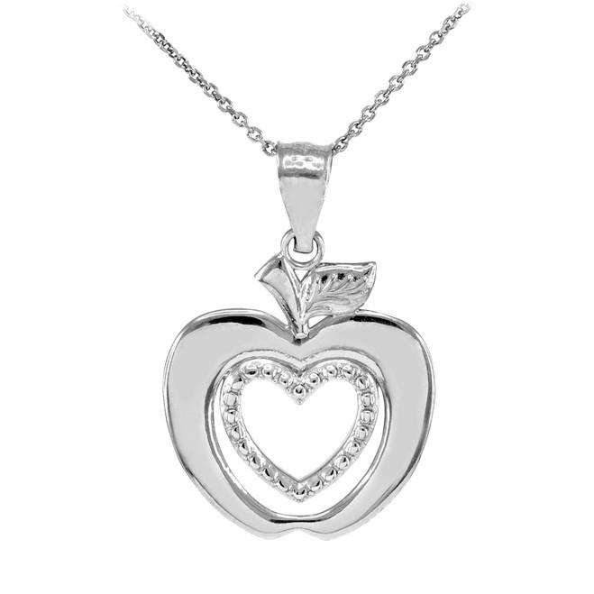 Sterling Silver Apple Heart Fancy Pendant Necklace