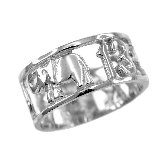 White Gold Lucky 13 Ring