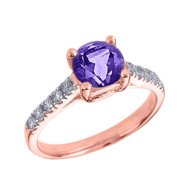 Rose Gold Diamond and Amethyst Solitaire Engagement Ring