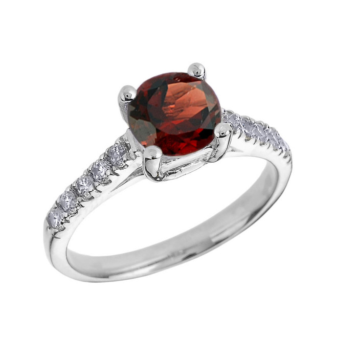White Gold Diamond and Garnet Solitaire Engagement Ring