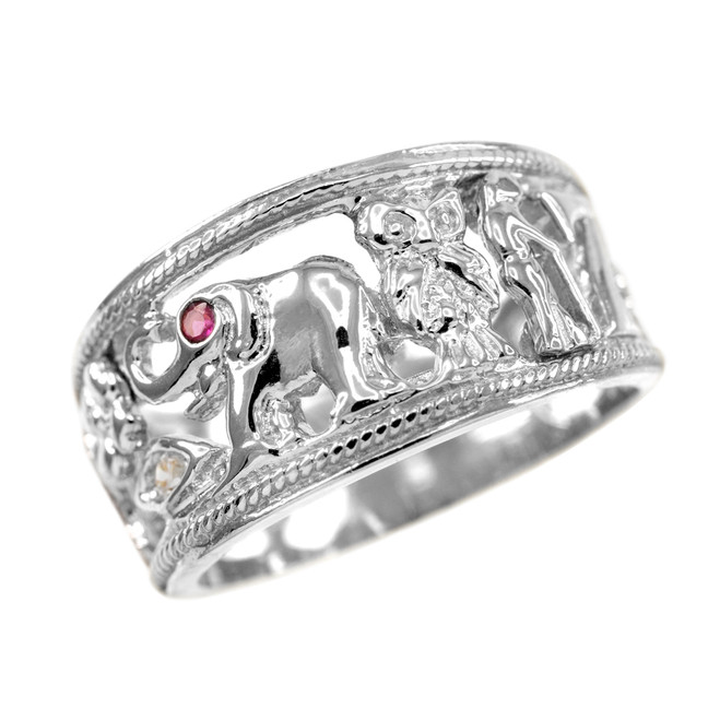 Silver Red CZ Lucky Ring