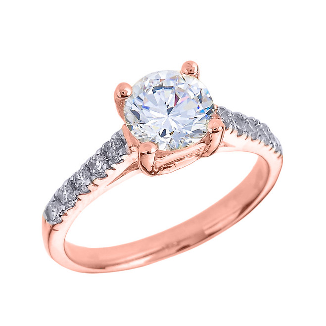 Rose Gold Diamond and White Topaz Solitaire Engagement Ring