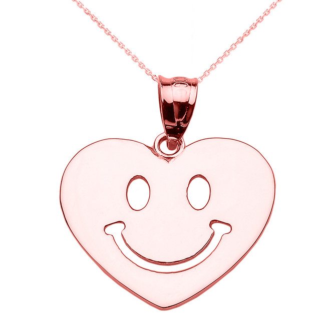 Rose Gold Happy Smiley Face Heart Pendant Necklace