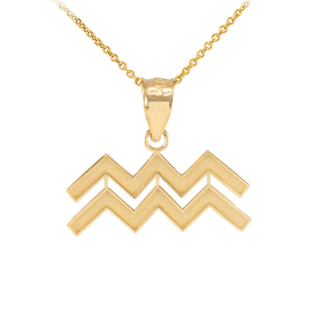 Gold Aquarius Zodiac Sign Pendant Necklace