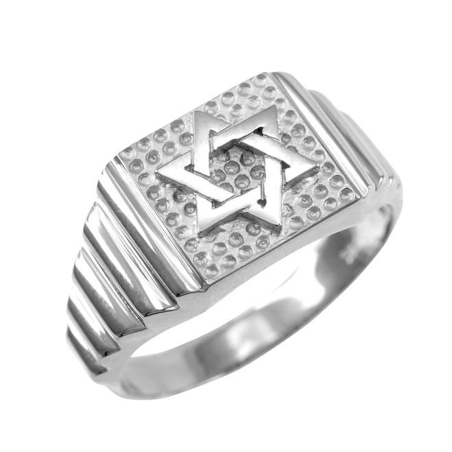 White Gold Star of David Jewish Ring