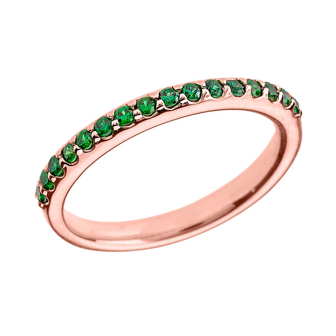 14k Rose Gold Green CZ Stackable Wedding Band