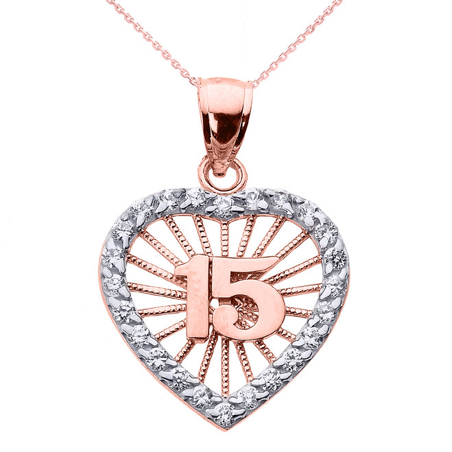 Rose Gold Sweet 15 Años Quinceanera CZ Heart Pendant Necklace