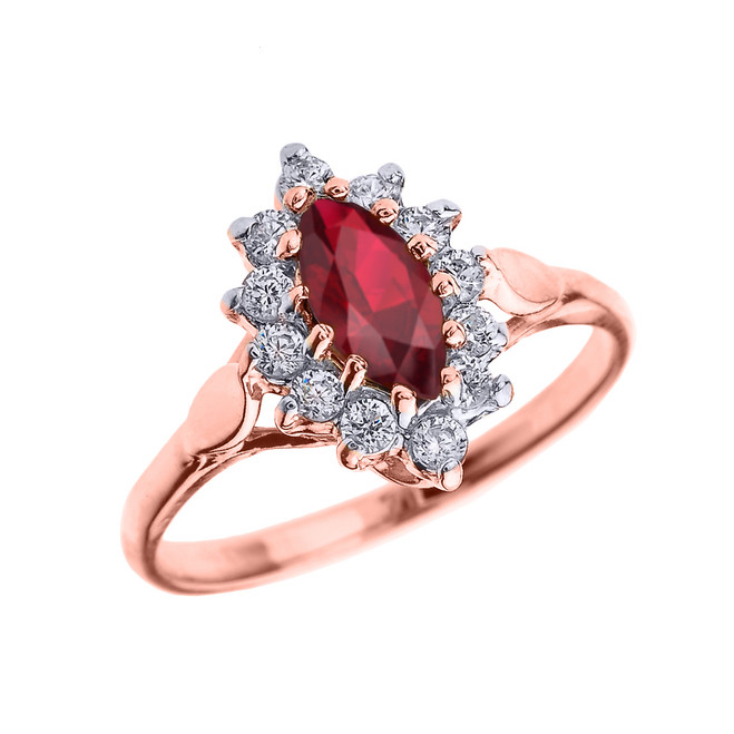 Rose Gold Diamond and Marquise Ruby Proposal Engagement Ring
