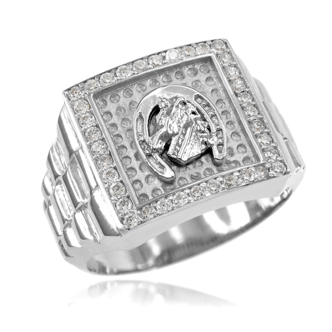 Silver Watchband Design Men's Horseshoe CZ Ring