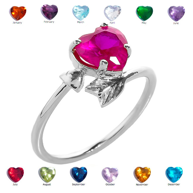 White Gold Heart and Arrow Birthstone Cubic Zirconia Ladies Ring