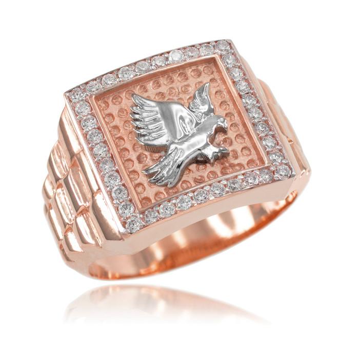 Rose Gold Watchband Design Men's Eagle CZ Ring
