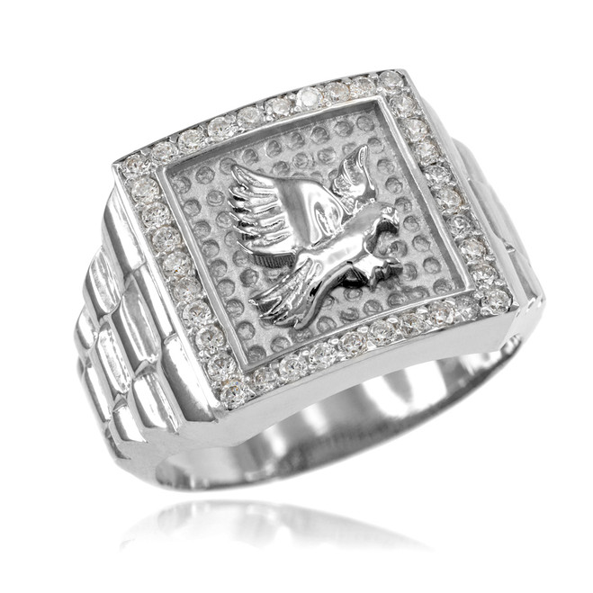 Silver Watchband Design Men's Eagle CZ Ring