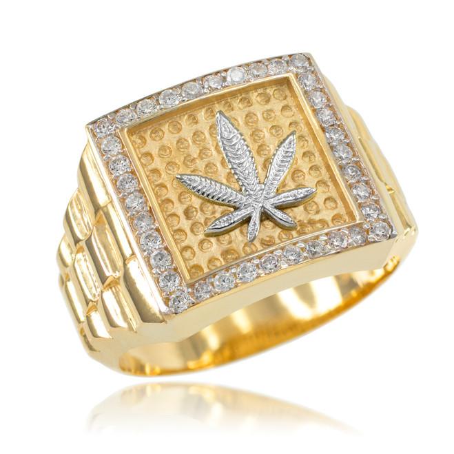 Gold Watchband Design Men's Marijuana CZ Ring