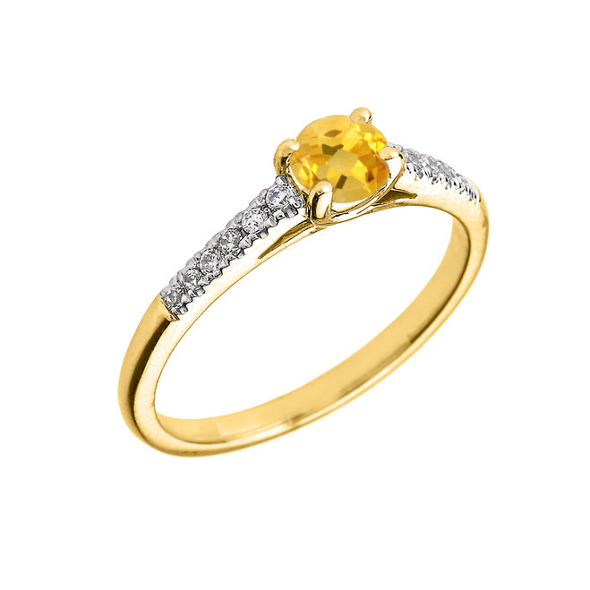 Yellow Gold Diamond and Citrine Engagement Proposal Ring