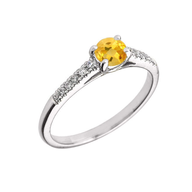 White Gold Diamond and Citrine Engagement Proposal Ring