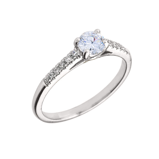 White Gold Diamond and White Topaz Engagement Proposal Ring