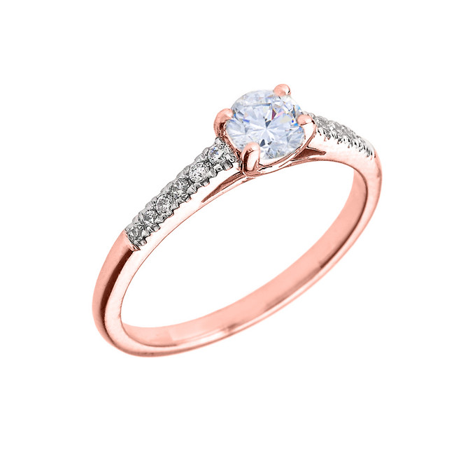 Rose Gold Diamond and White Topaz Engagement Proposal Ring