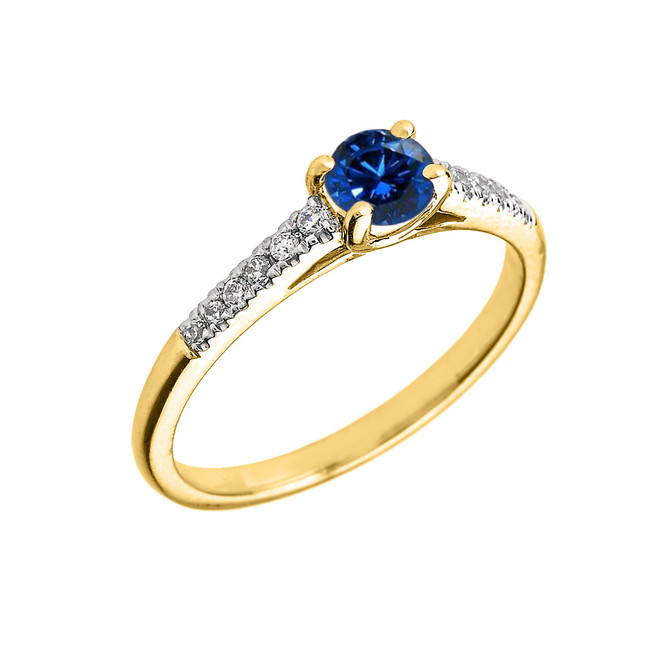 Yellow Gold Diamond and Sapphire Engagement Proposal Ring