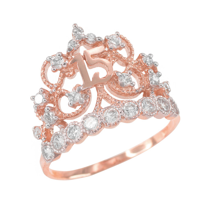 Rose Gold Crown Quinceanera 15 Anos CZ Ring