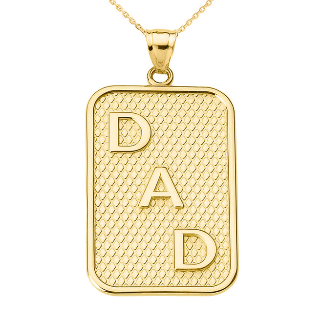 """Yellow Gold """"DAD"""" Pendant Necklace"""