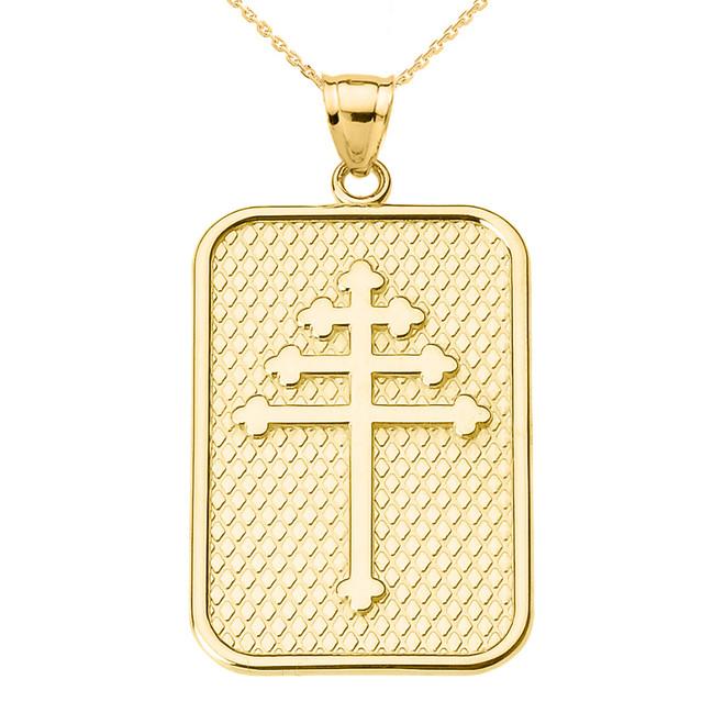 Yellow Gold Maronite Cross Pendant Necklace