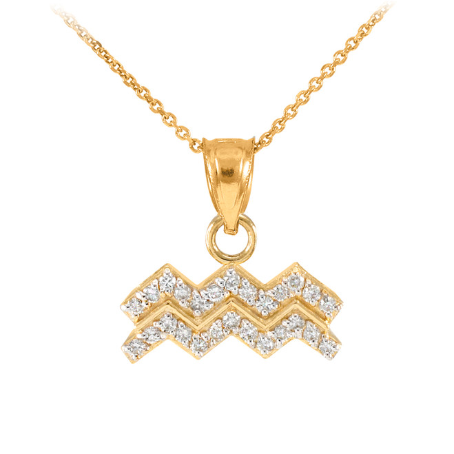 14k Gold Aquarius Zodiac Sign Diamond Pendant Necklace