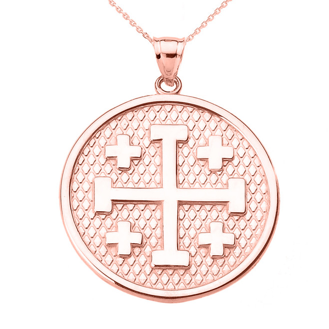 Rose Gold Jerusalem Cross Round Pendant Necklace