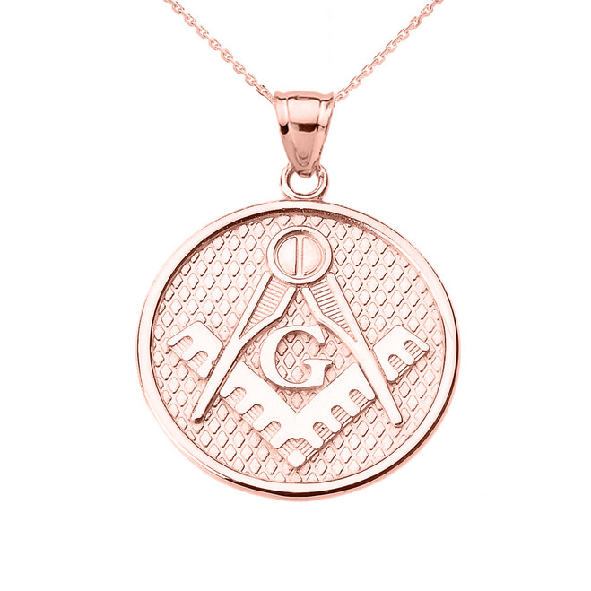 Rose Gold Freemason Masonic Round Pendant Necklace