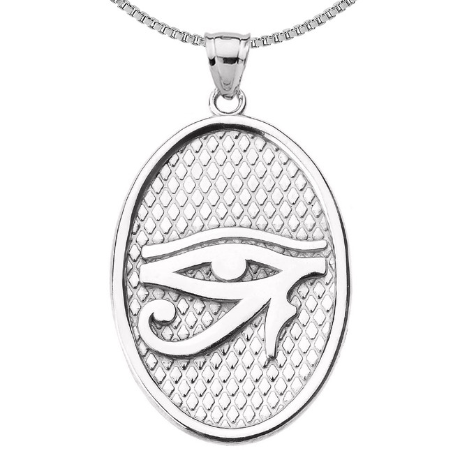 Sterling Silver Eye of Horus Oval Pendant Necklace