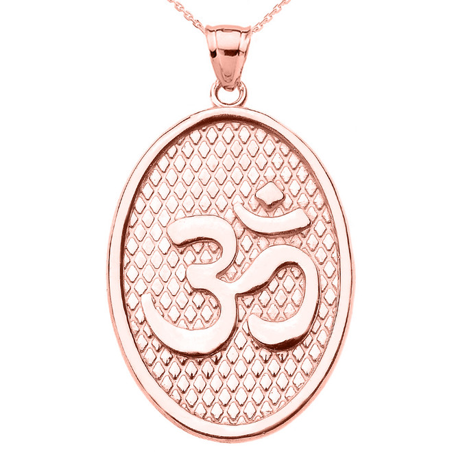 Rose Gold Om/Ohm Oval Pendant Necklace