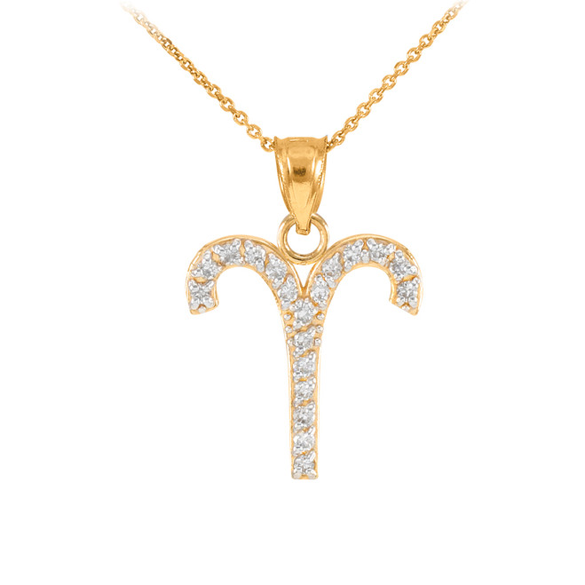 14K Gold Aries Zodiac Sign Diamond Pendant Necklace