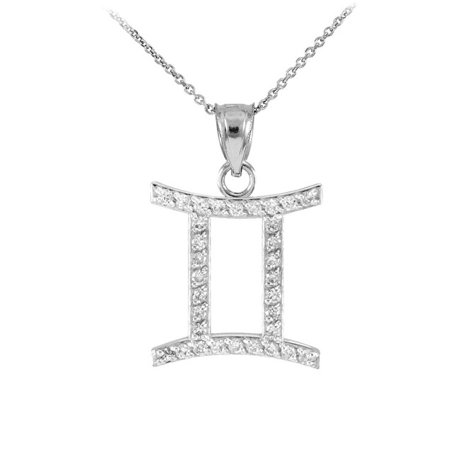 14K White Gold Gemini Zodiac Sign Diamond Pendant Necklace