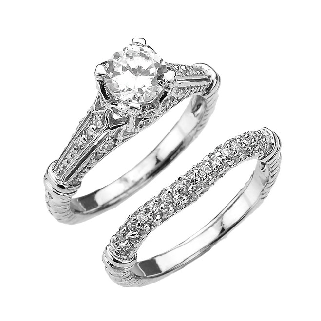 White Gold Art Deco Engagement Wedding Ring Set