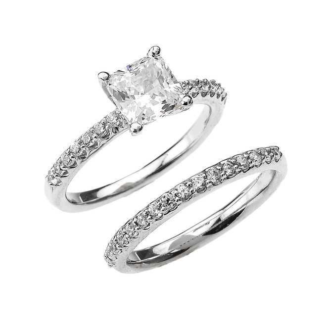 White Gold Princess CZ Classic Engagement Wedding Ring Set