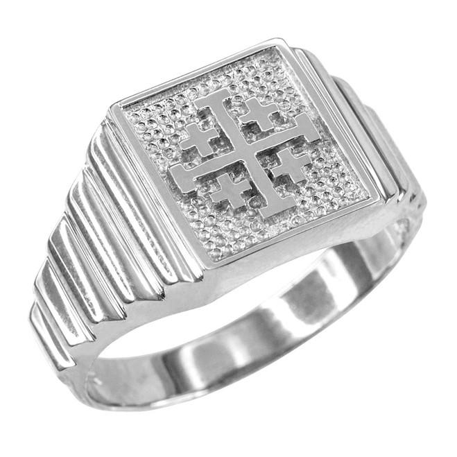White Gold Jerusalem Cross Men's Ring