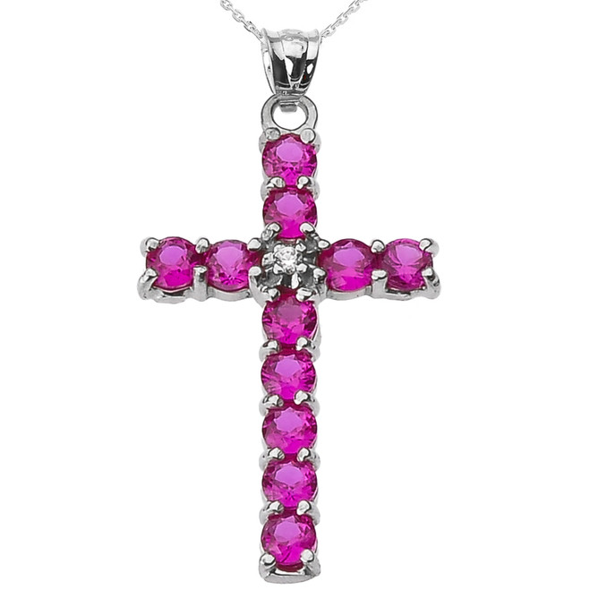 10k White Gold Diamond and Red CZ Cross Pendant Necklace
