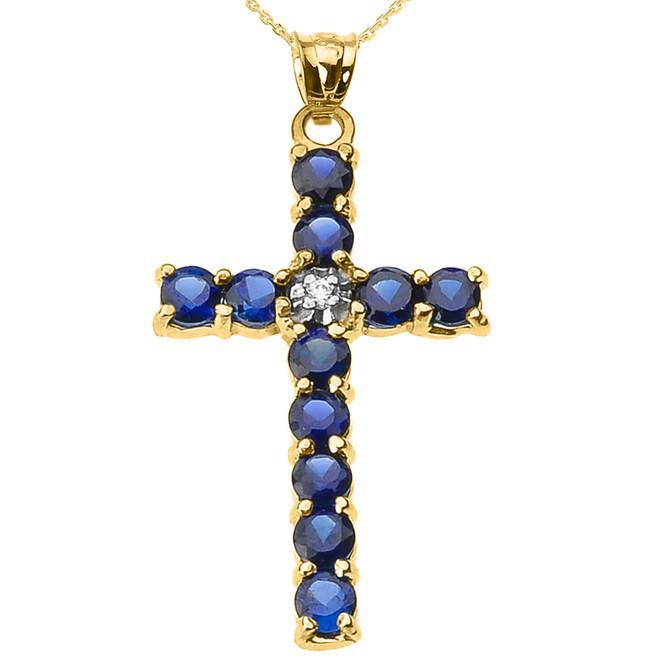 10k Yellow Gold Diamond and Blue CZ Cross Pendant Necklace
