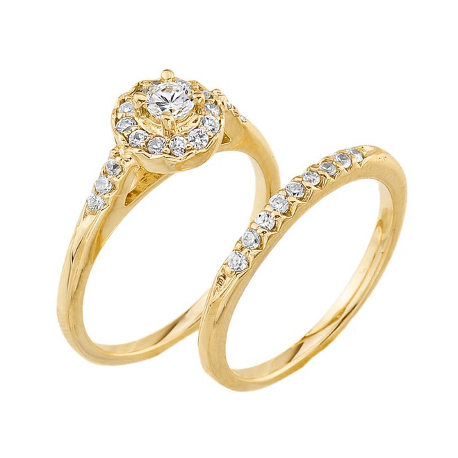Yellow Gold CZ Halo Wedding Engagement Ring Set
