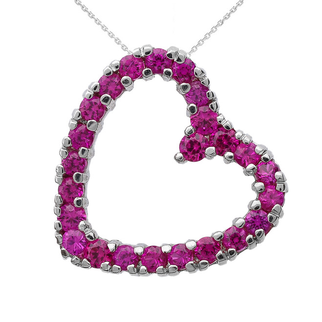 White Gold Red Cubic Zirconia Open Heart Necklace