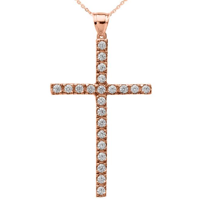Rose Gold Diamond Cross Pendant Necklace