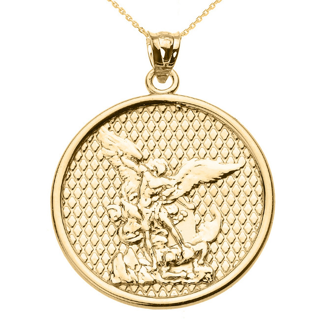 Yellow Gold Saint Michael Pendant Necklace