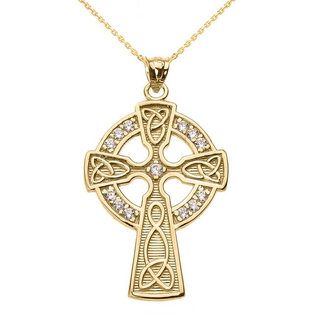 Yellow Gold Cubic Zirconia Trinity Knot Celtic Cross Pendant Necklace