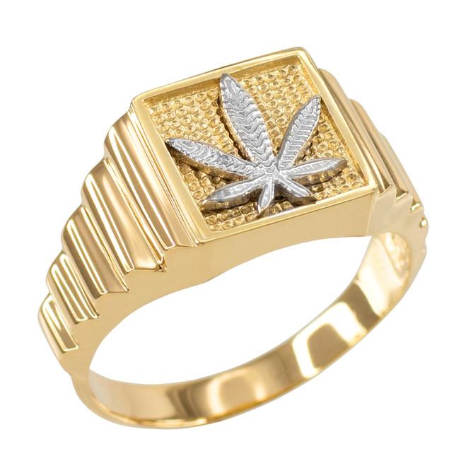 Gold Marijuana Square Mens Ring