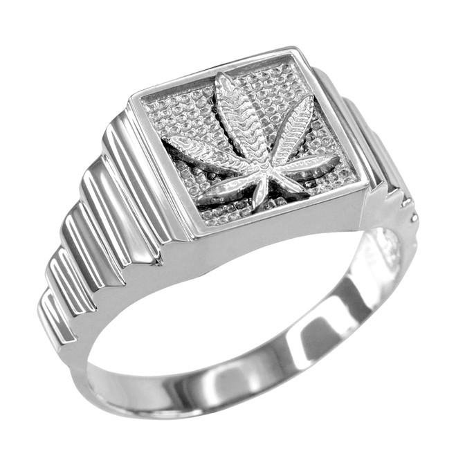 Sterling Silver Marijuana Square Mens Ring