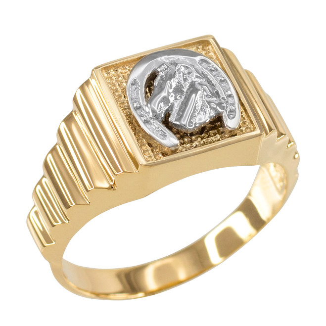 Gold Lucky Horseshoe Square Mens Ring