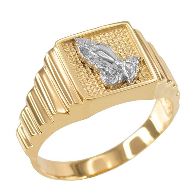 Gold Praying Hands Square Mens Ring