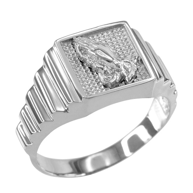 White Gold Praying Hands Square Mens Ring