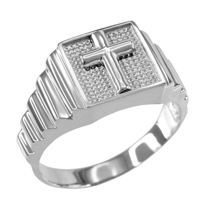 White Gold Cross Square Mens Ring