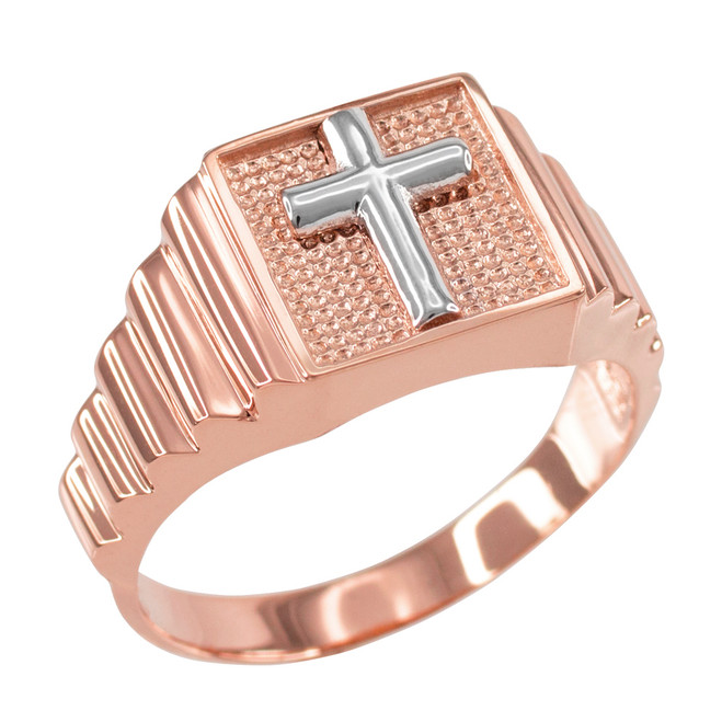 Rose Gold Cross Square Mens Ring