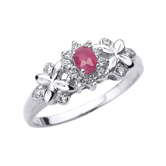 White Gold Oval Ruby and Diamond Engagement Ring